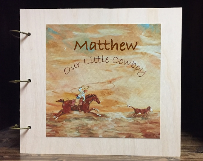 Personalized Little Cowboy Roper Baby Memory Book Wood Cover Scrapbook | Canvas Art Print Cover | Three Ring Wood Cover | Various Sizes