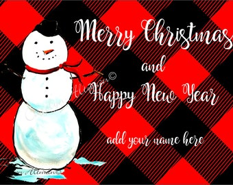Merry Christmas Snowman and Buffalo Plaid Christmas Cards |  Package of 20 or Package of 40 Cards