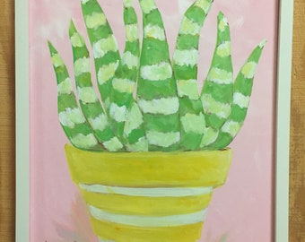 Aloe Vera Painting | Pink Background Aloe Vera Art Prints and Note Cards  | Painted on a Stretched Canvas | Original is Framed | Pretty Pink
