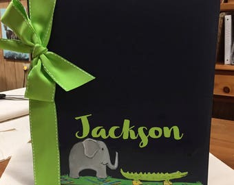Rainforest Baby Memory Book |Elephant and Alligator on  Cover