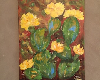 Prickly Pear Cactus Fine Art Painting, Prints, Note Cards | Bright Yellow Bloom Cactus | Green, Yellow, Burnt Sienna, Blue Acrylic Paint