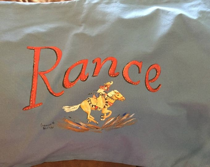 Little Palomino and Cowboy Pillowcase | Red Personalized Lettering