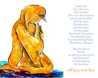 For Unto Us a Child is Born Christmas Cards |  Package of 20 or Package of 40 Cards
