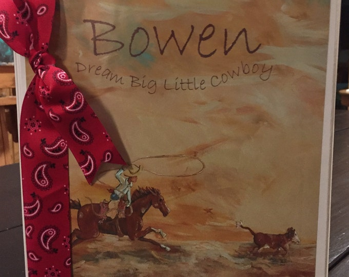 Dream Big Little Cowboy Calf Roper Personalized Baby Memory Book, Notebook style