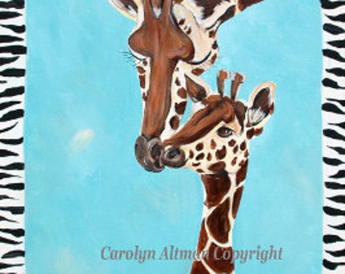 Giraffe and Baby Painting | Big Giraffe and Baby Acrylic Medium Painting