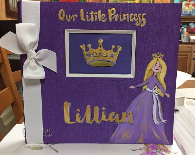 Little Princess Baby Memory Book Purple Hand Painted Cover