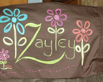 Pretty Flowers Personalized Hand Painted Dark Brown Pillowcase