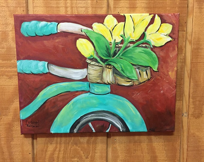 "Yellow Tulips on a Turquoise Bicycle Painting and Blank Note Cards | Artist Carolyn Altman Acrylic Original Stretched Canvas 16""x20"""