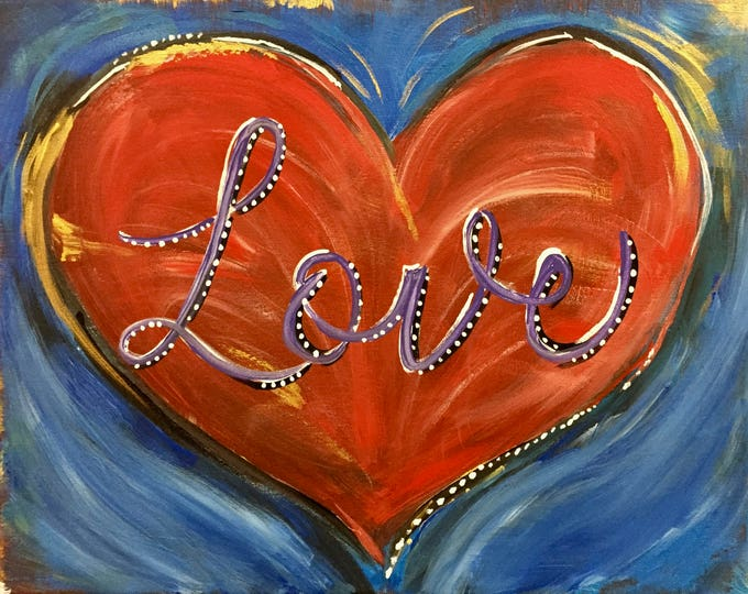 Love Heart Original Painting | Red Heart with Love Painting on Stretched Canvas