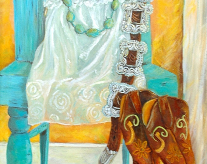 Leather and Lace Cowgirl Art Prints