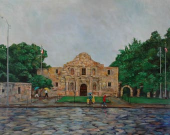 The Alamo in the Rain | Texas Alamo Painting | Painting and Art Prints