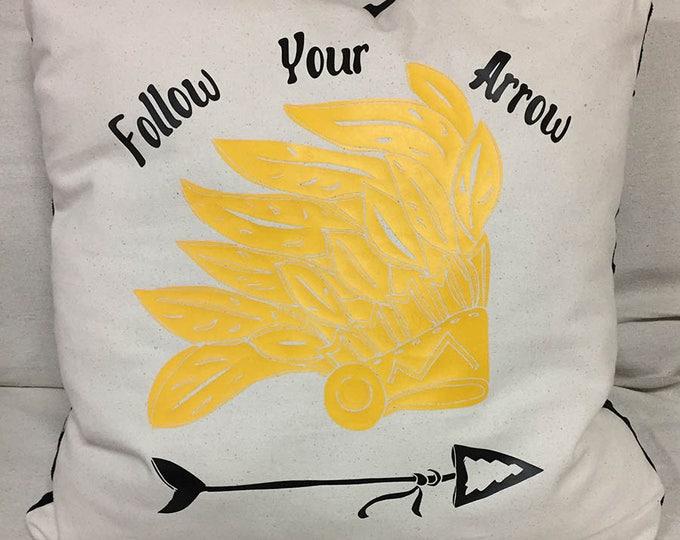 Follow Your Arrow Decorative Indian Headdress Design Pillow | Comfy Yet Decorative Southwest Designed Pillow