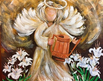 Consider the Lilies Angel Greeting Cards Blank Inside