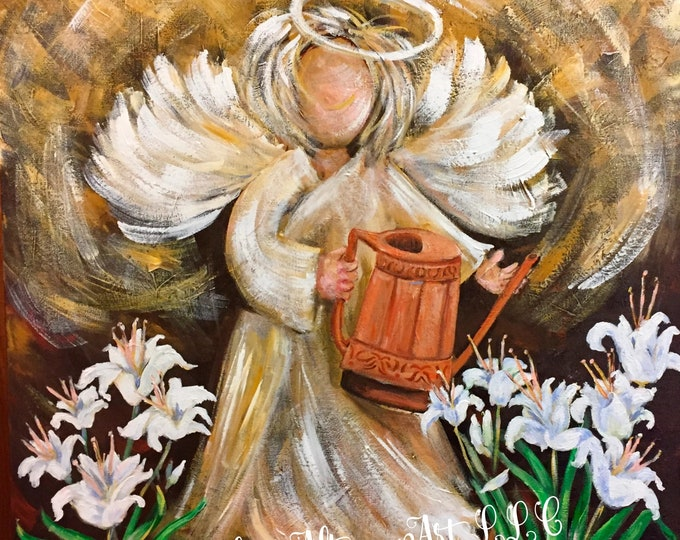 Consider the Lilies Angel Painting, Art Prints and Note CardsConsider the Lilies Angel Painting, Art Prints and Note Cards