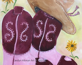 Dusty Rose Boots and Hat Painting