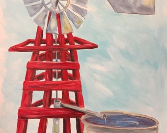 Red Windmill a Cute Nursery or Kids Room Original Painting | Watercolor Paper Windmill painting | Farmhouse or Ranch Style Painting