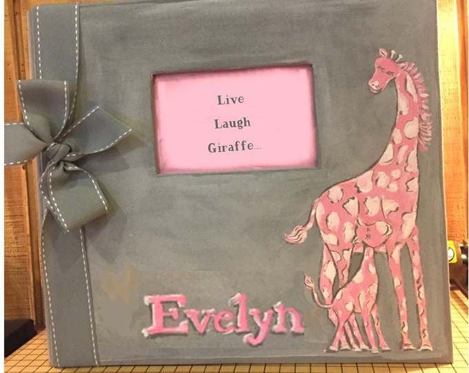 Live, Laugh...Giraffe Baby Memory Book | Pink Giraffe and Gray Scrapbook Album Baby Memory Book | Cute Matching Pages