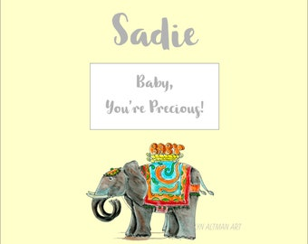 Fancy Elephant Baby Book | Personalized Hand Painted Elephant Scrapbook Soft Yellow Nursery Book
