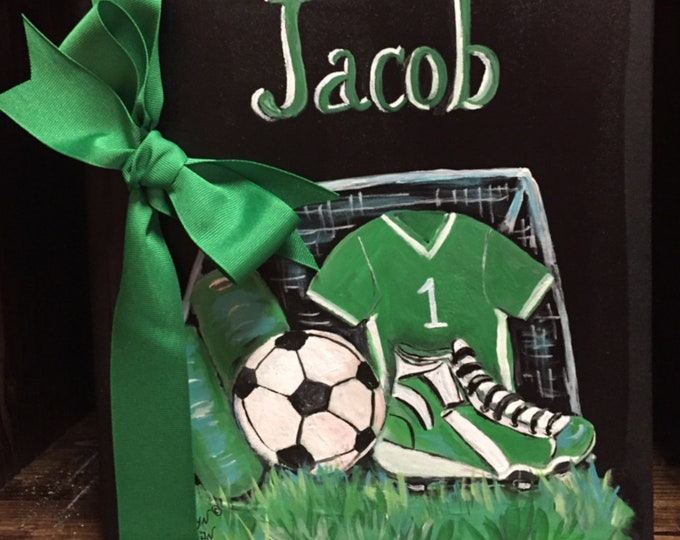Soccer Player Baby Memory Book | Green Soccer Jersey and Cleats Designed Baby Memory Book