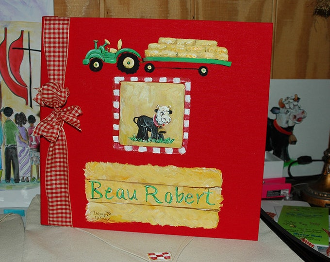 Little Farmer Baby Memory Book with Red Cover and Hay