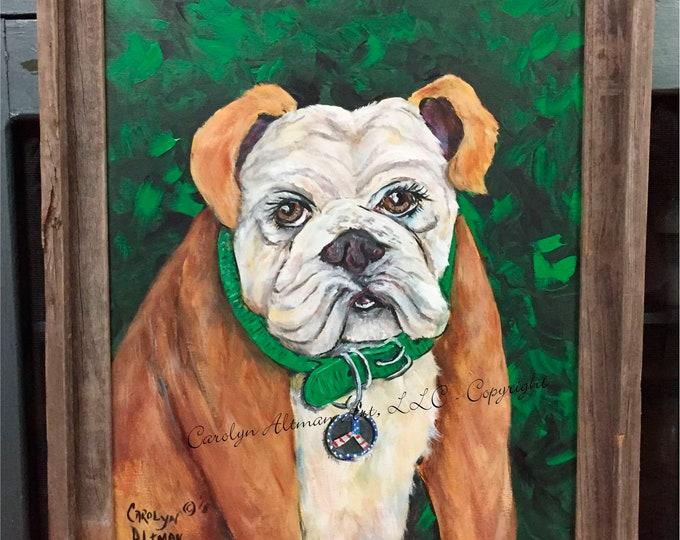 English Bulldog Painting | Original Painting |English Bulldog wearing Peace Sign Painting