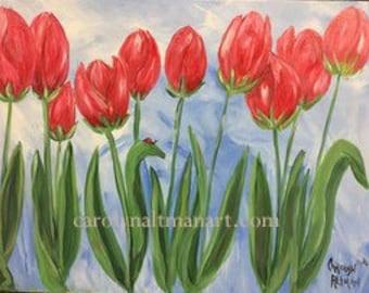 Red Tulips - original painting