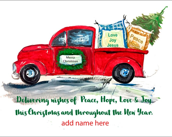 Red Truck Christmas Card Design Christmas Cards |  Package of 20 or Package of 40 Cards