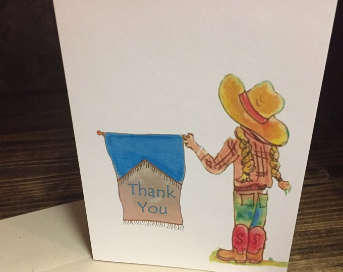 Little Girl with Pigtails and Straw Hat Thank You Card | Stock Show Thank You Card