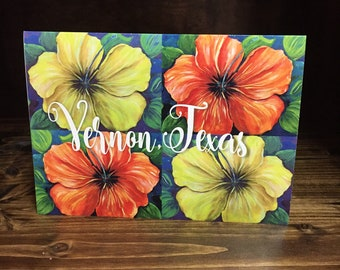 Say Hello from Your Home Town Note Cards | Blank Inside | Add Your Personal Message | Your Town's Name on Pretty  Hibiscus Design