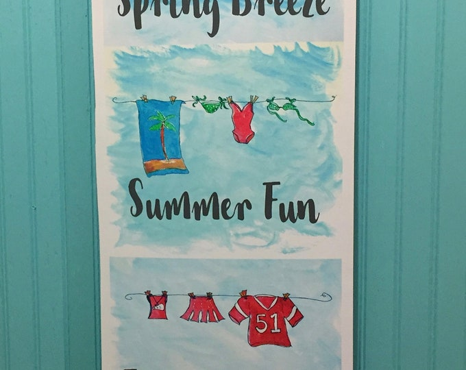 Four Seasons Laundry Room Art Tapestry Wall Hanging | Spring Breeze | Summer Fun | Fall is in the Air | Winter Chill