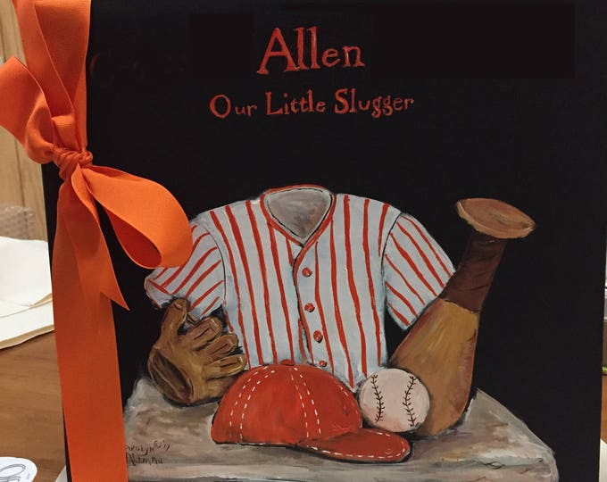 Little Baseball Dreams Baby Memory Book | Orange and Black