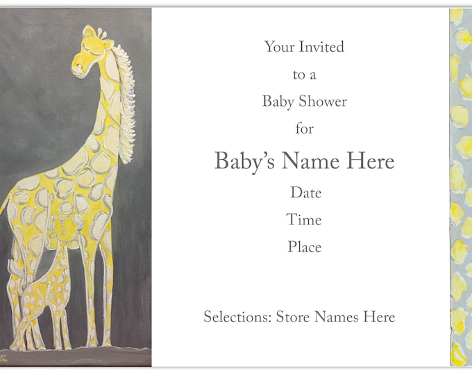 Giraffe and Baby Shower Invitations | Carolyn Altman | Glory Bee Baby