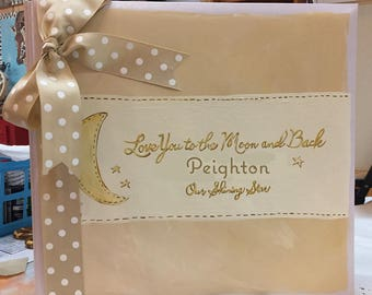 Love You to the Moon and Back Baby Memory Book | Golds and Whites Shining Star Baby Keepsake Book