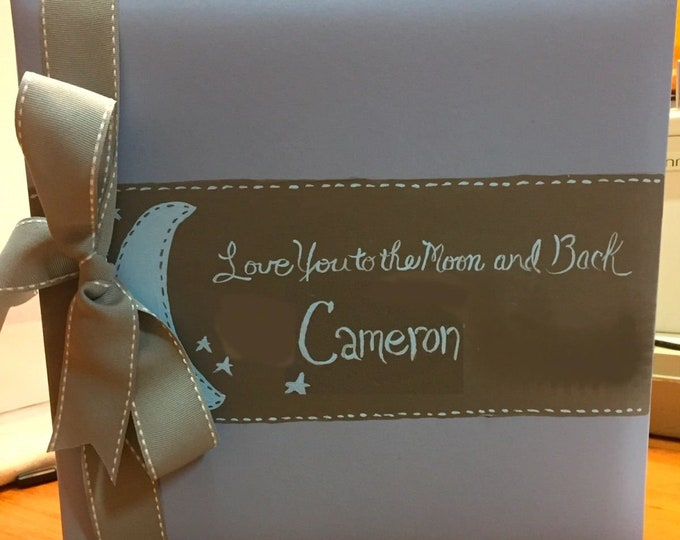Love You to the Moon Baby Memory Book | Blue and Gray Keepsake Book