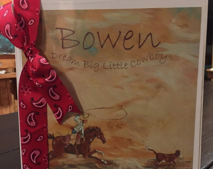 Dream Big Little Cowboy Baby Memory Book Vinyl Notebook CoverDream Big Little Cowboy Baby Memory Book Vinyl Notebook Cover