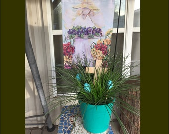 Garden Angel Flag in  Easter Bucket | Wooden Hand Painted Easer Eggs and Cross in Pretty Plastic Bucket | Flag and Bucket Easter Arrangement