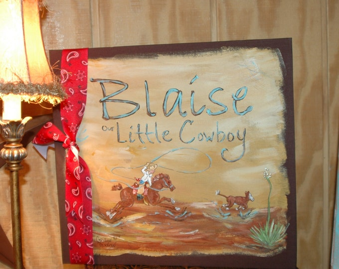 Little Roper Baby Memory Book 12x12 Scrapbook Style with hand painted cover of little cowboy roping a calf. Personalized with baby's name.