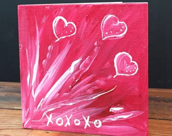 "XOXOXO Valentine Greeting Card | Valentine Hearts Painting on 6""x6"" Canvas - One of a hand painted Valentine Greeting Card"