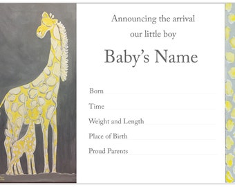 Giraffe and Baby Announcements | Carolyn Altman | Glory Bee Baby