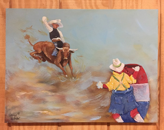 Wild Bull Rider Painting | Wild Bull Rider and Rodeo Clown Acrylic Painting