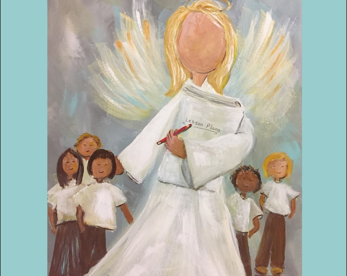 A Teacher Makes a Difference Angel Painting Note Cards and Art Prints | Original painting by Carolyn Altman, Artist | Painted in 2020