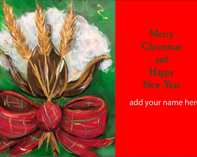 Cotton and Wheat Christmas Card Design Christmas Cards |  Package of 20 or Package of 40 Cards