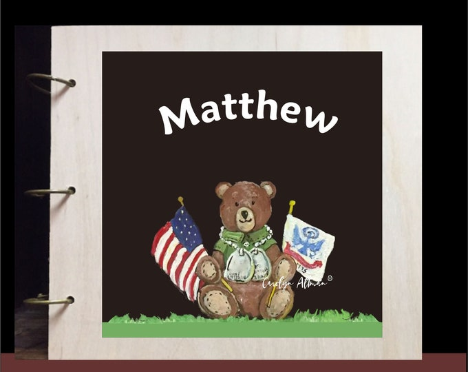Personalized Patriotic Teddy Bear Baby Memory Book Wood Cover | US Army Flag and Wears Dog Tags Canvas Art Print on Wood Cover
