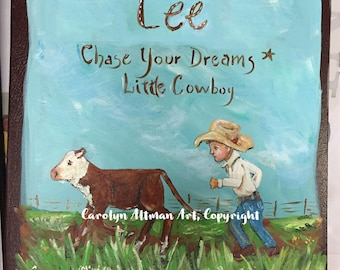 Chase Your Dreams - Little Steer Wrestler Baby Memory Book