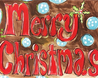 Bubbly Merry Christmas Lettering Christmas Cards  Package of 20