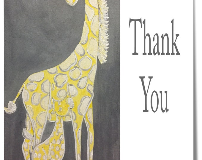 Giraffe and Baby Thank You Cards | Package of 20 Yellow and Gray | Carolyn Altman | Glory Bee Baby