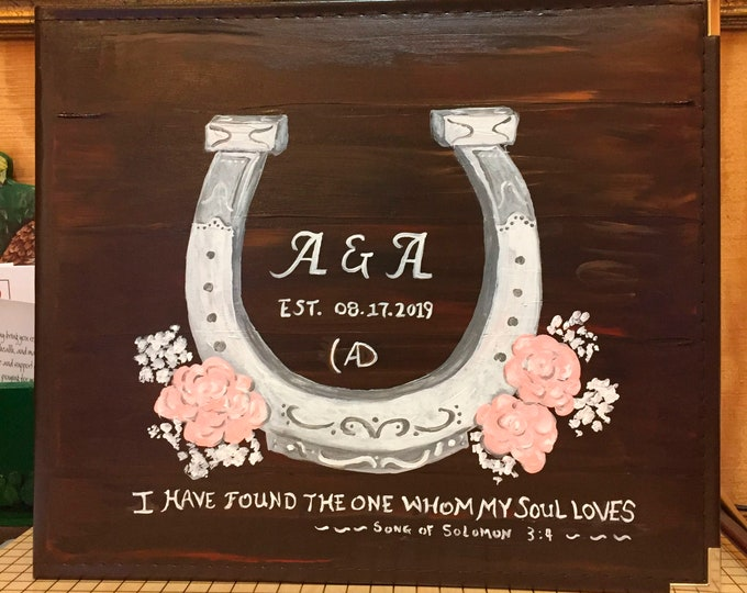 Horseshoe and Roses Wedding Book,  Painted and Personalized Cover
