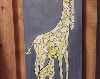 Giraffe and Baby Painting | Soft Yellow and Gray Giraffe Painting