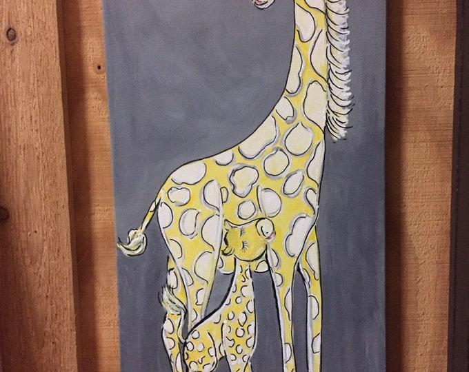 Giraffe and Baby Painting | Soft Yellow and Gray Giraffe Painting