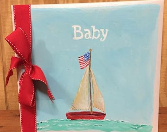 Wee Little One American Born Baby Memory Book Blue Sky and Ocean Green Cover